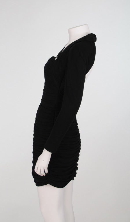 "Black 1980s Vicky Tiel ""Fauve""  shirred drape cocktail dress For Sale"