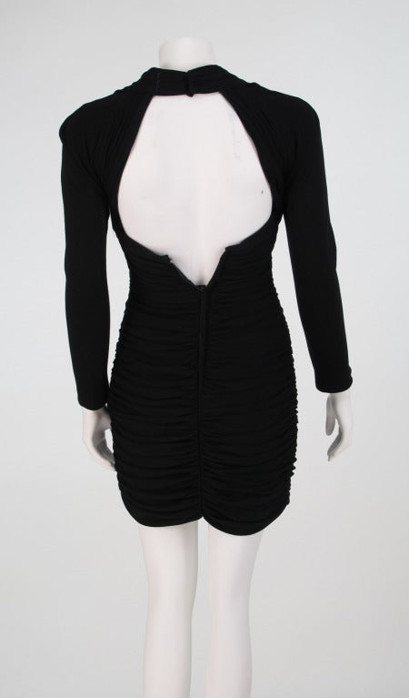 "1980s Vicky Tiel ""Fauve""  shirred drape cocktail dress 5"