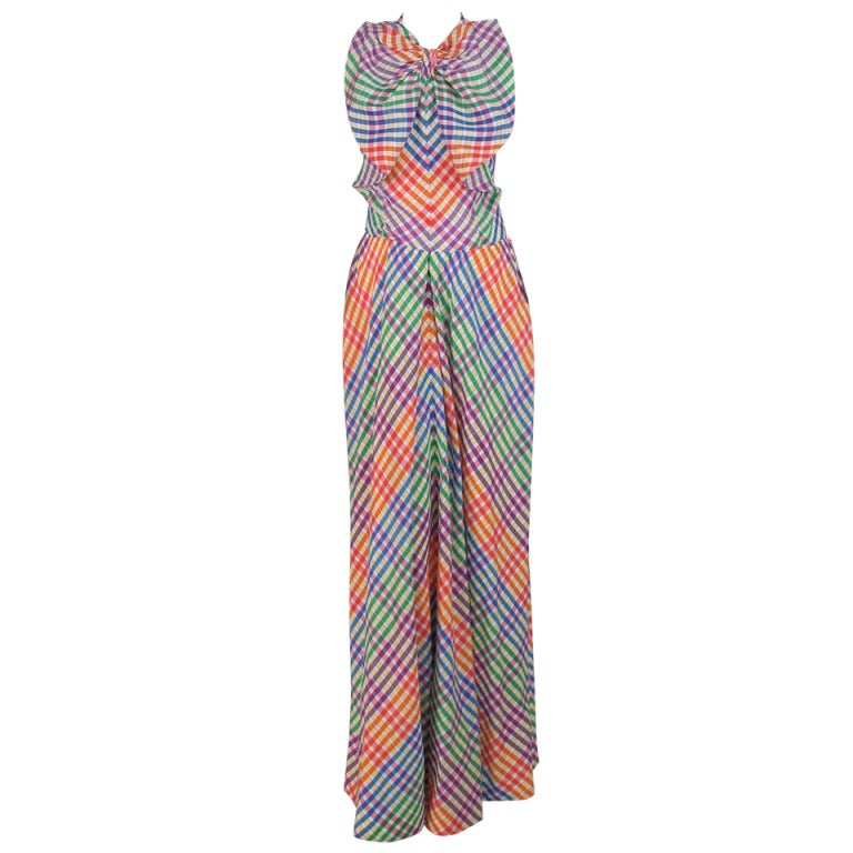 1970s Geoffrey Beene bias cut plaid taffeta bow front gown