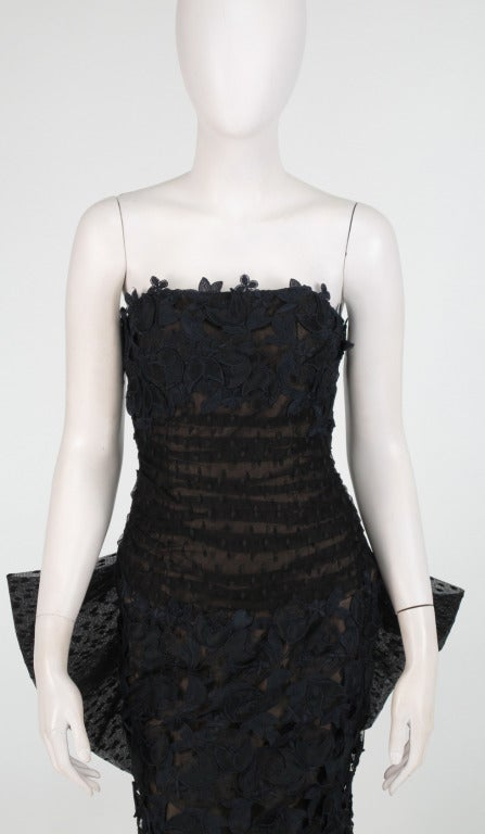 1980s Victor Costa dark blue guipure lace & black point d'esprit in black & blue strapless evening gown...Statement making with it's fitted shape to the knee and deep flaring hem...There is a huge point d'esprit bow at the back (which could be