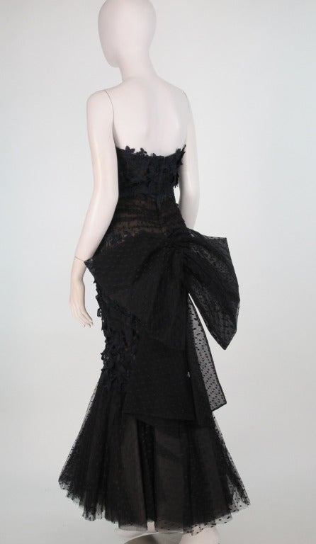 1980s Victor Costa guipure lace & point d'esprit strapless evening gown 5