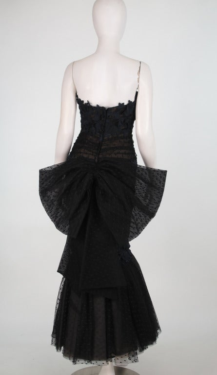 1980s Victor Costa guipure lace & point d'esprit strapless evening gown 6