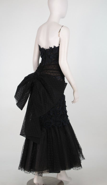 1980s Victor Costa guipure lace & point d'esprit strapless evening gown 7