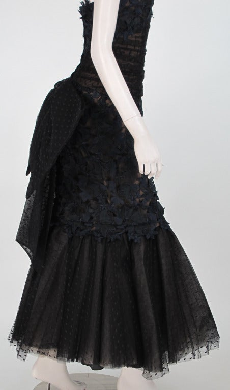 1980s Victor Costa guipure lace & point d'esprit strapless evening gown 8