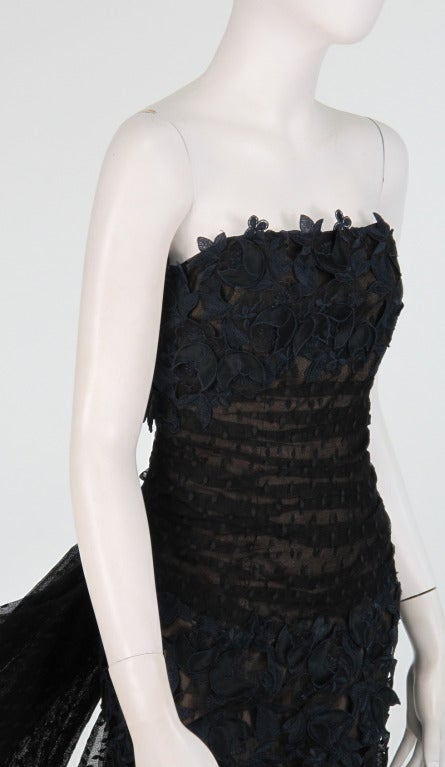 1980s Victor Costa guipure lace & point d'esprit strapless evening gown 9