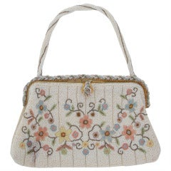 1940s Llewellyn hand made in France beaded floral evening bag