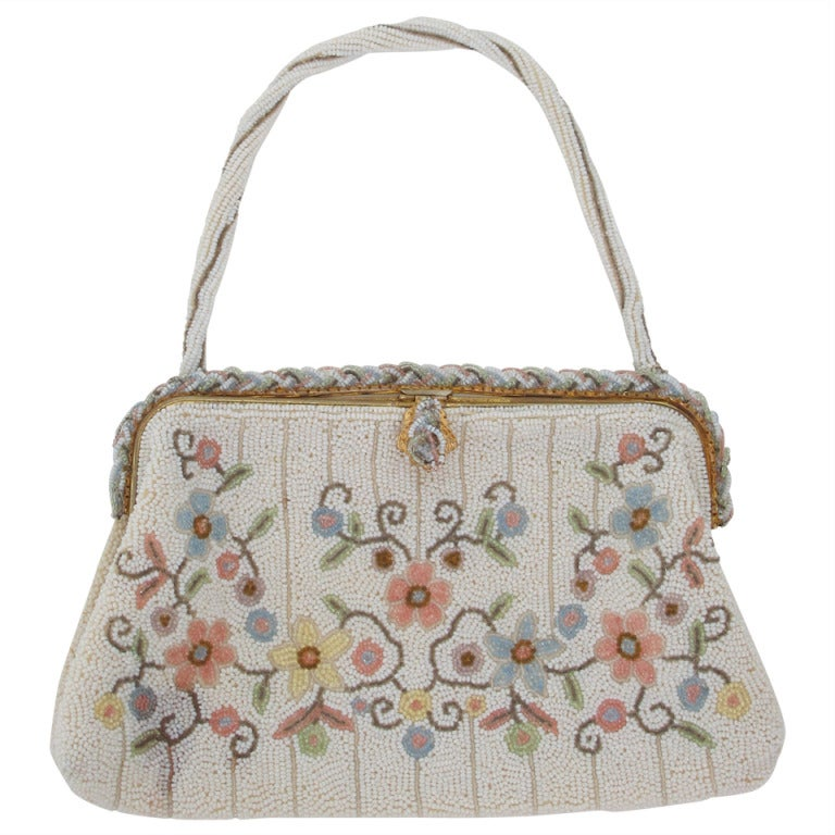 1940s Llewellyn hand made in France beaded floral evening bag 1
