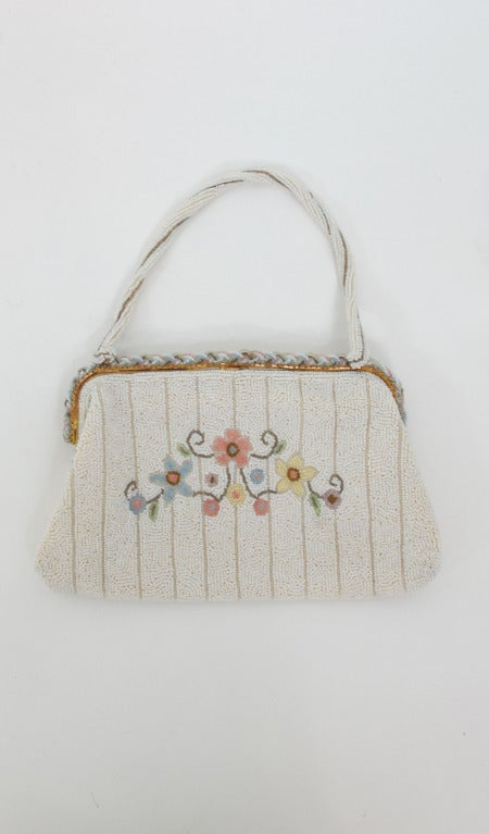 1940s Llewellyn hand made in France beaded floral evening bag 3
