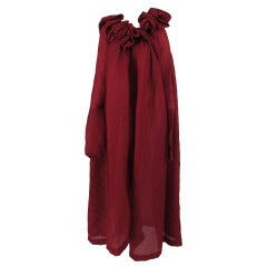 1990s Romeo Gigli ethereal garnet pinch pleated evening coat