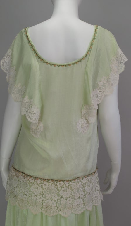 1920s silk & lace afternoon dress For Sale 1