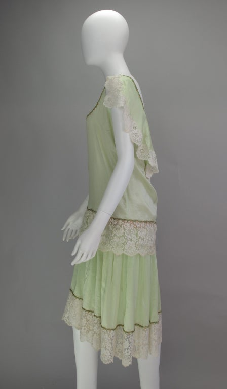 1920s silk & lace afternoon dress For Sale 3