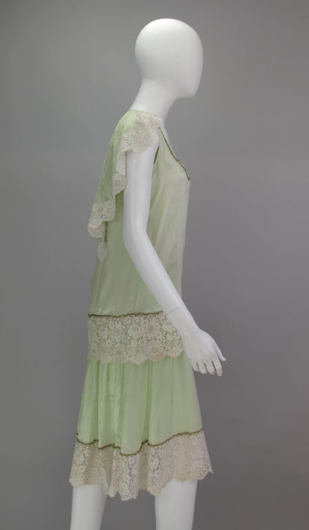 1920s silk & lace afternoon dress For Sale 4