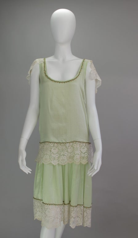 1920s silk & lace afternoon dress For Sale 5