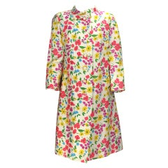 1960s floral spring coat & matching sheath dress