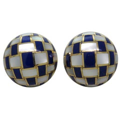 Tiffany Gold Mother Of Pearl Lapis Checkerboard Earrings