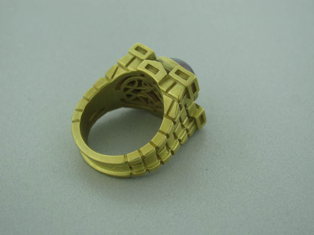 KIESELSTEIN CORD Camelot Square Gold Rhodolite Ring at 1stdibs