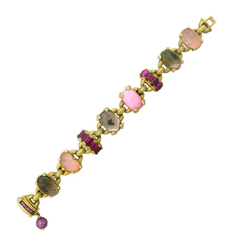 Judith Ripka Ambrosia Gold Diamond Gem Bracelet For Sale at 1stdibs