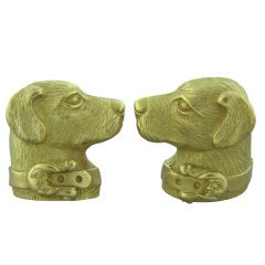 KIESELSTEIN CORD Gold Large Dog Cufflinks