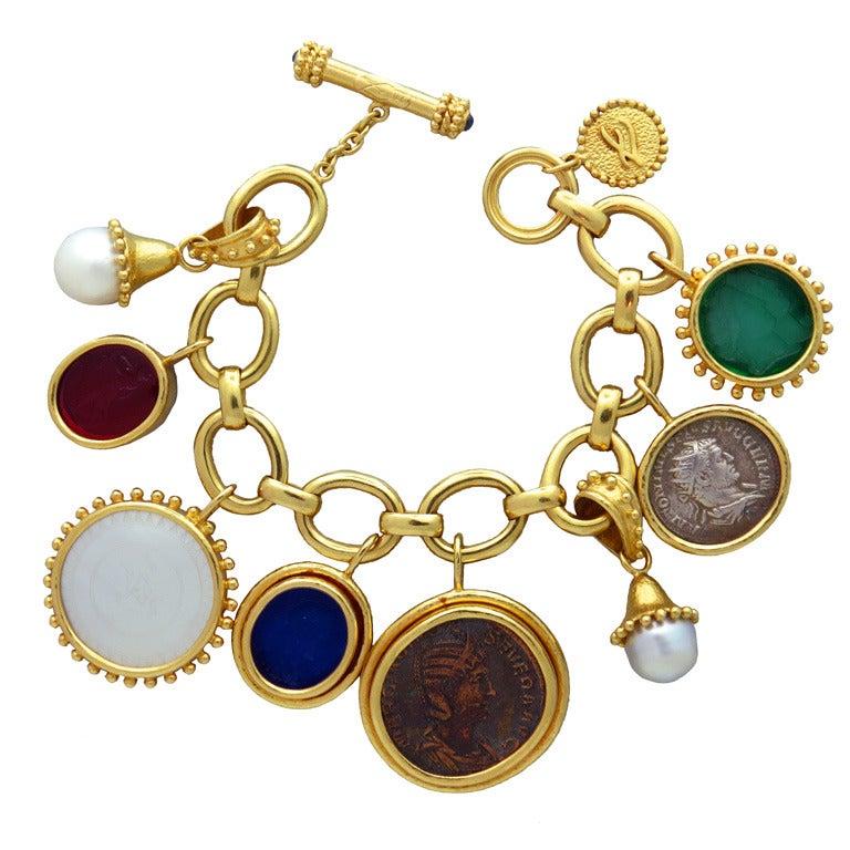 Impressive Elizabeth Locke Gold Charm Bracelet 1