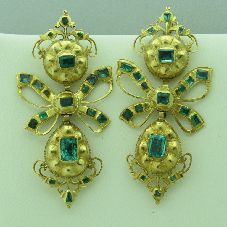 Antique Iberian Emerald Gold Earrings At 1stdibs