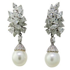 Classic Night & Day Platinum Diamond South Sea Pearl Earrings