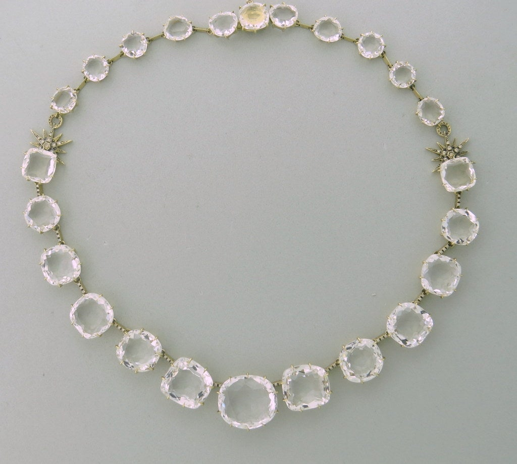 H Stern 18k gold diamond crystal necklace from Moonlights collection. Current retail $31000. Necklace is16 1/2
