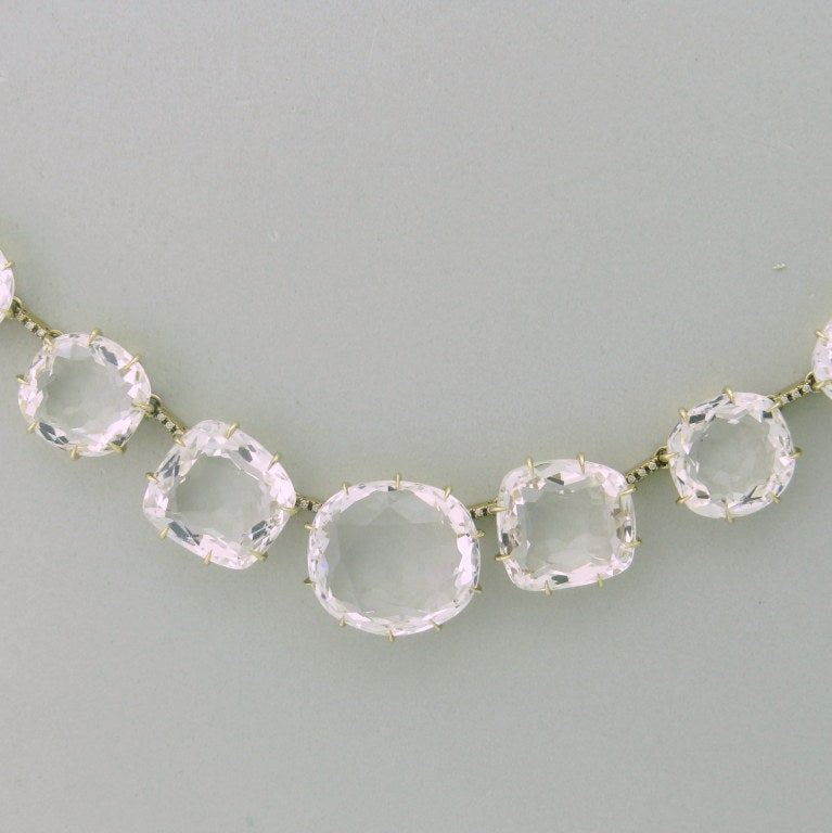 H Stern Moonlight Gold Diamond Crystal Necklace In Excellent Condition In Boca Raton, FL