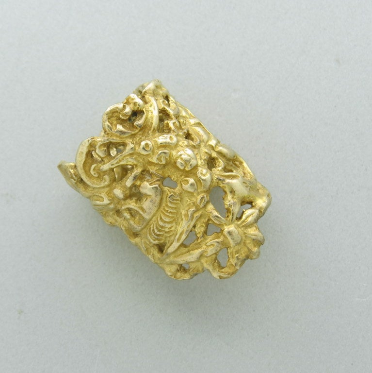 Eric De Kolb Gold Wide Band Ring at 1stdibs