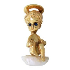 Ruser Gold Pearl Sapphire Angel Brooch
