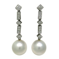 Gold Diamond South Sea Pearl Drop Earrings