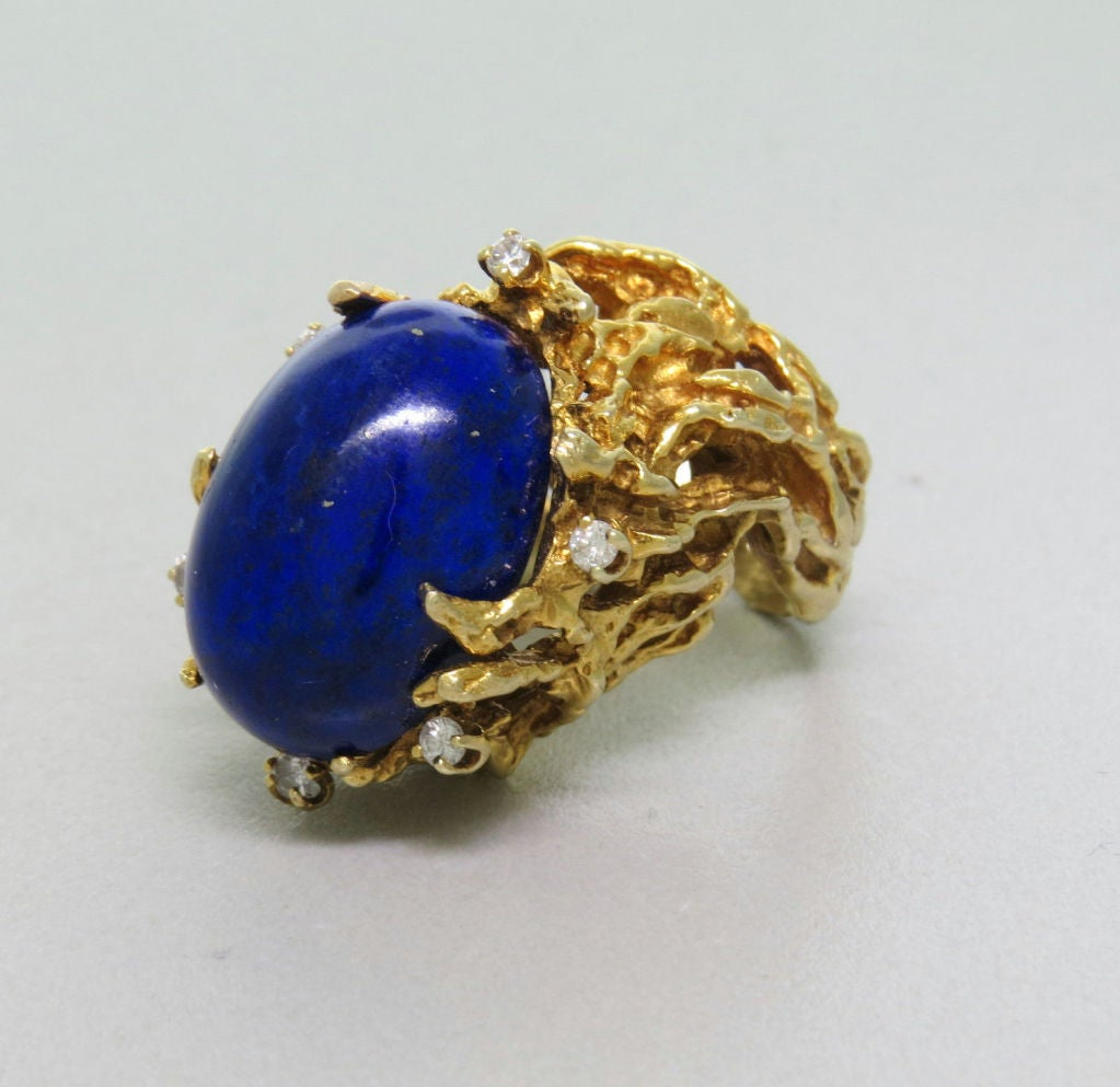 Vintage 14k Yellow Gold. Gemstones: Lapis - 20mm x 15mm