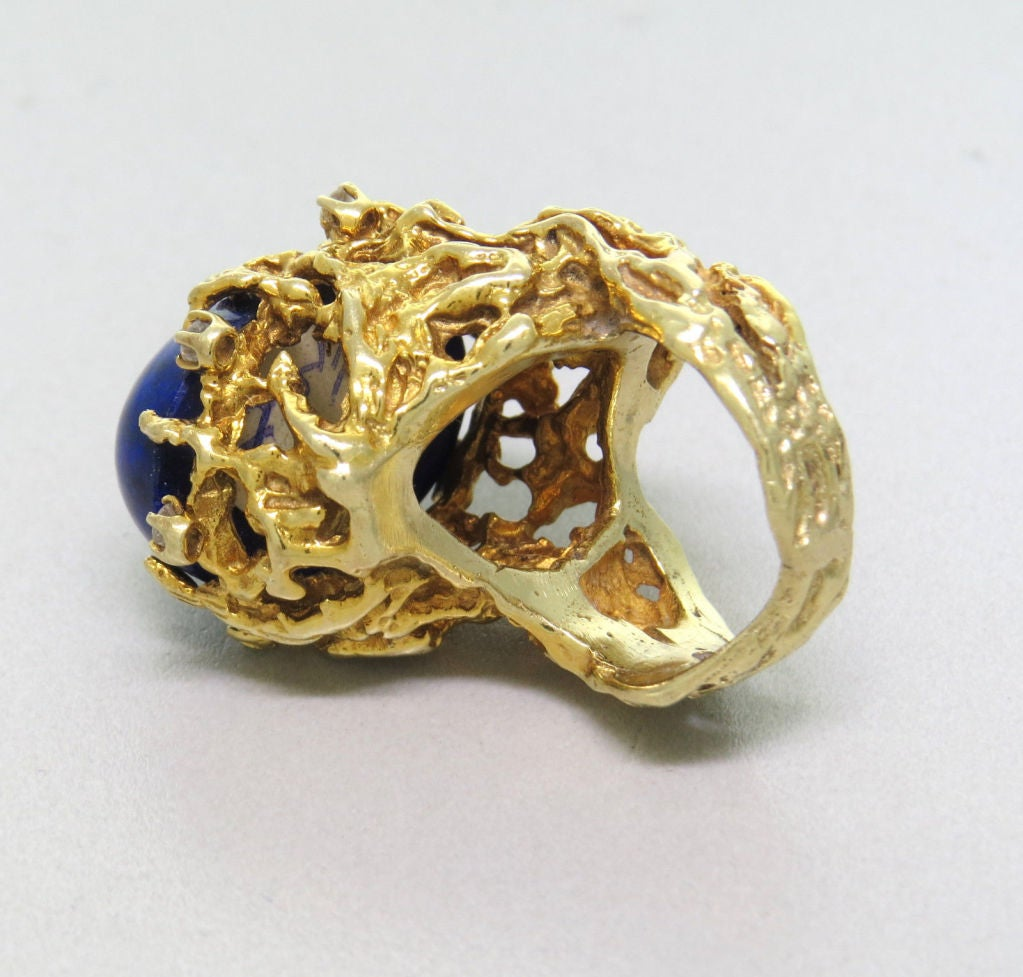 1970s Gold Lapis Lazuli Diamond Freeform Ring In Excellent Condition For Sale In Lahaska, PA