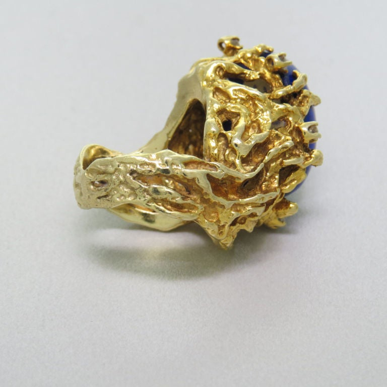 Women's 1970s Gold Lapis Lazuli Diamond Freeform Ring For Sale