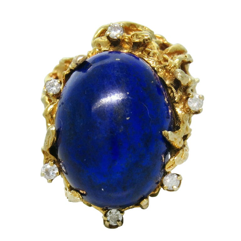 1970s Gold Lapis Lazuli Diamond Freeform Ring For Sale