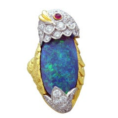 Rare David Webb Black Opal Diamond Ruby Gold Platinum Ring
