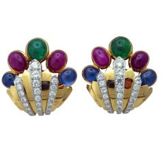 David Webb Diamond Ruby Emerald Sapphire Gold Platinum Earrings
