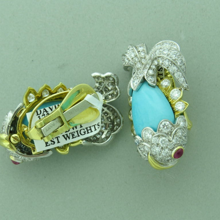 Whimsical David Webb Turquoise Diamond Ruby Platinum Gold Earrings 2