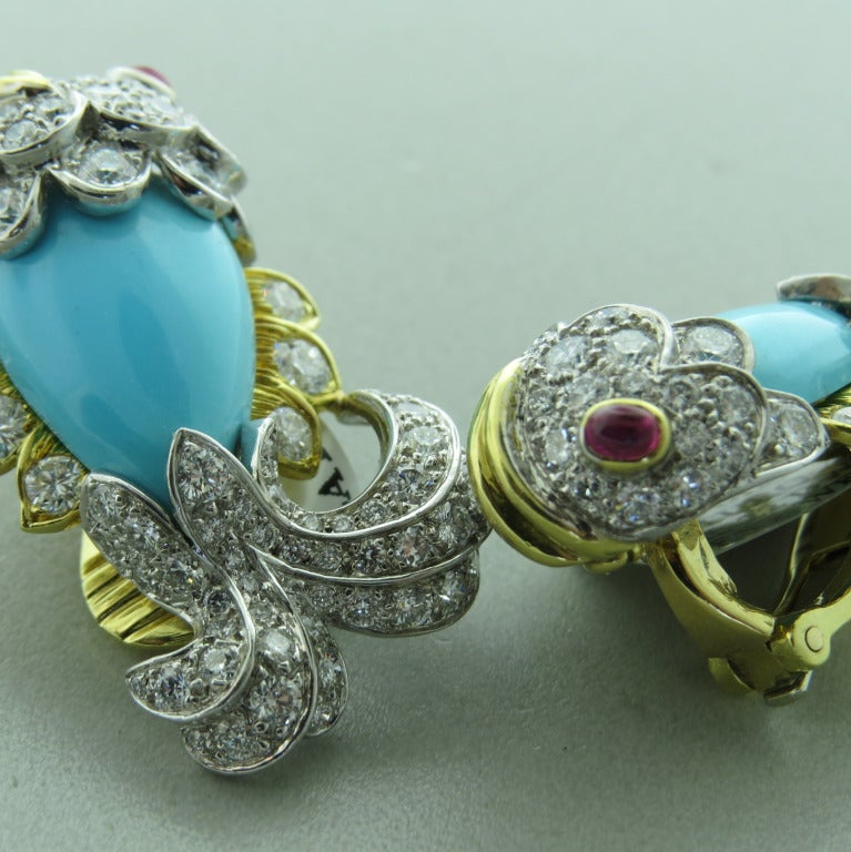 Whimsical David Webb Turquoise Diamond Ruby Platinum Gold Earrings 3