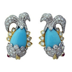 Whimsical David Webb Turquoise Diamond Ruby Platinum Gold Earrings