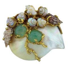 ARTHUR KING Gold Seashell Gemstone Brooch Pin