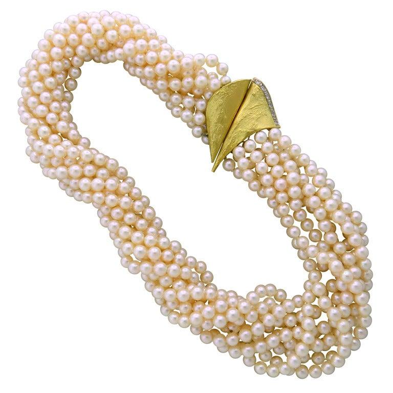 Gold Pearl Diamond Multi Strand Necklace