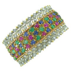 Buccellati Gold Emerald Sapphire Ruby Diamond Bangle Bracelet