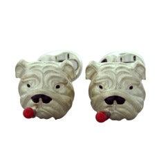 Deakin & Francis Enamel Sterling Silver Bulldog with Cigar Cufflinks