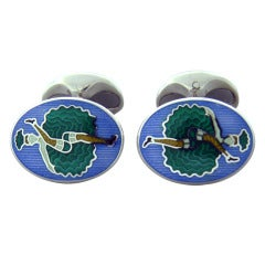 Deakin & Francis Sterling Silver Can Can Girl Cufflinks
