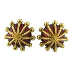 TIFFANY & CO SCHLUMBERGER Gold Red Enamel Earrings