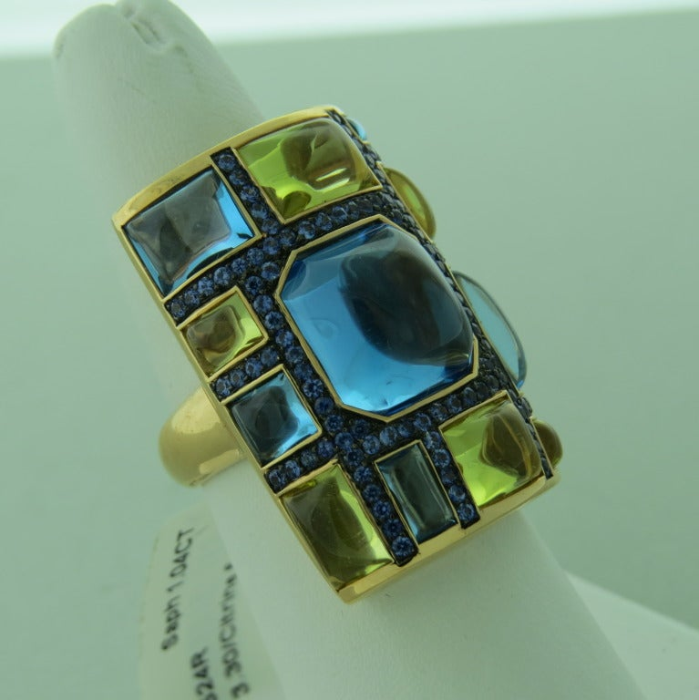 Large Topaz Citrine Sapphire Gold Cocktail Ring 2