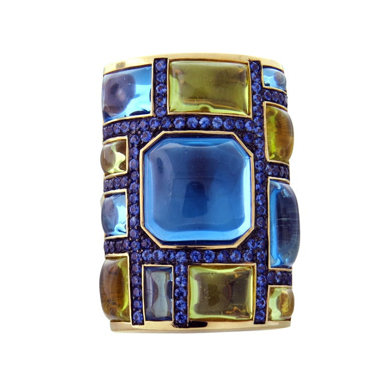Large Topaz Citrine Sapphire Gold Cocktail Ring 1