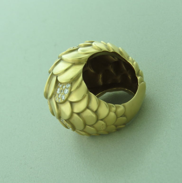 Pomellato Sirene Gold Diamond Dome Ring In New Condition For Sale In Lahaska, PA