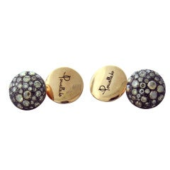 Pomellato Pour Homme Diamond Silver Gold Cufflinks