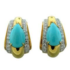 DAVID WEBB Turquoise Diamond Gold Platinum Earrings